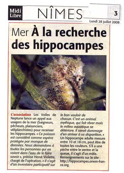 Article de presse du 28 juillet 2008